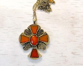 Vintage pendant, Miracle pendant,  Scottish, Celtic, Iona knot work, Gothic cross, necklace pendant, birthday, anniversary, gift