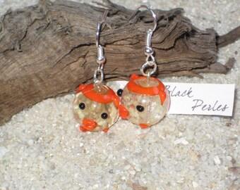 Earrings yellow ang orange glass pig