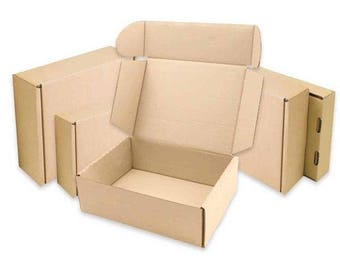 Brown Kraft Pizza Style Cardboard Postal Box w/ Lid & Flaps in numerous sizes // Use for selling gifting or shipping various craft products