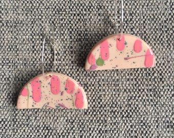 Pink Splatter Drip Hoops
