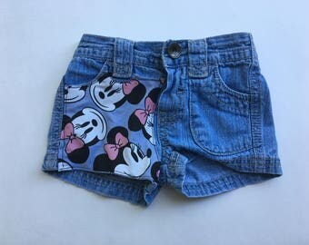 Minnie Mouse Upcycled Denim- 0-3 months