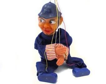 RARE Vintage 1950's 1960's Unusual Vinyl Naughty Policeman Puppet Marionette