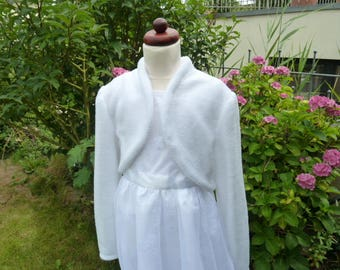 Communion jacket, Bolero jacket, white, request size, fleece, wedding, flower girl, summer jacket, girl jacket, communion dresses,