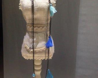 Nice necklace PomPoms blue tone.