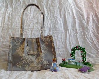 Handbag romantic gray and beige