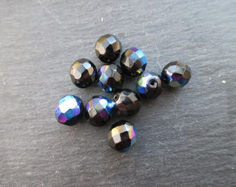 Faceted 10 mm: 10 jet black AB beads Bohemian