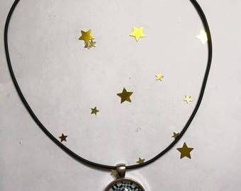 "Rubber pendant 25 mm ""Azulejos"" Choker necklace"