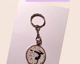 "Keychain Metal free shipping ""Gymnast"" glass Cabochon"
