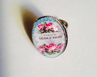 "Beautiful ring adjustable silver Metal Vintage ""Seduction perfume"""