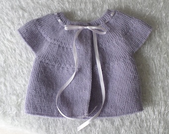 Hand-knitted sweater baby lilac colors