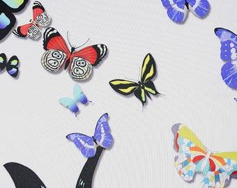 fabric, coupon, butterflies, butterfly, garden, polyester, 150 cm
