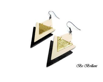 Cream gold ▲triangles▲ black leather earrings