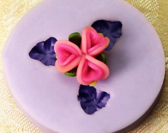 silicone mold for polymer clay 3 flowers