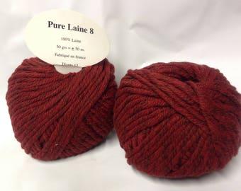 knit - wool / set of 10 balls 8/red burgundy Tweed wool / made in FRANCE