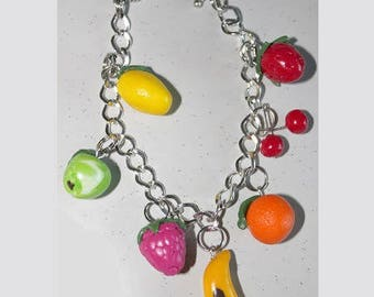 Multi fruit, lemon, raspberry, Apple orange bracelet
