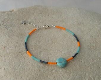Bangle Bracelet in Miyuki beads and 2 turquoise stone