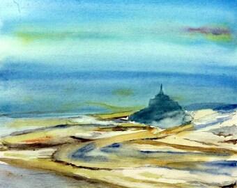 watercolor mont saint Michel