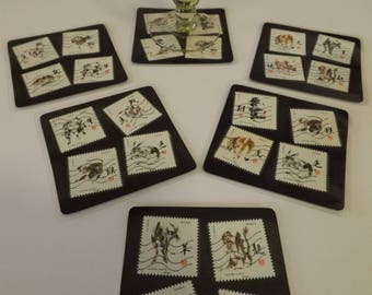 Dessous de verres carrés plastifiés - création originale - nouvelle collection  - Signes du Zodiaque chinois