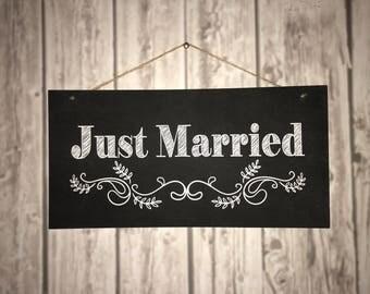 """Just Married"" imitation panels slate"