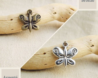 size 13mm x 13mm bronze or silver packs Butterfly charms