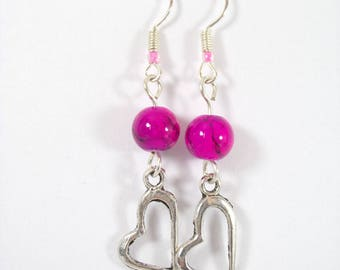 Earrings Gunmetal Silver glass beads marbled Fuchsia and heart charm pendant