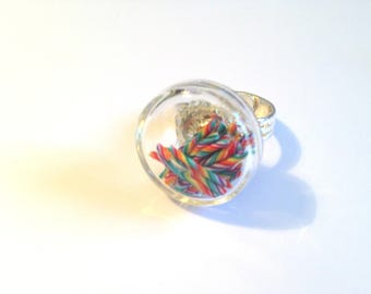 Ring - polymer clay candy canes - glass vial.