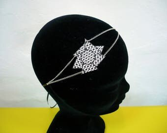 Black and white printed leather graphic headband
