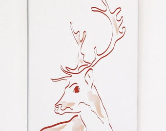 Deer wall picture, print on canvas 20 x 30 cm