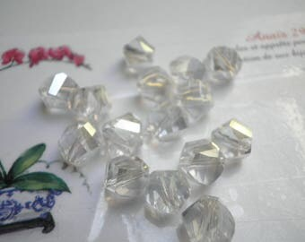 5 faceted Helix Crystal Clear AB 8 x 7 mm