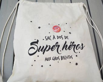 Badge boy backpack - personalized Super Hero
