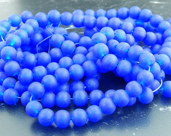 20 royal blue frosted glass beads