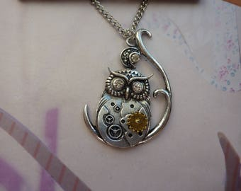 Steampunk vintage mechanism watch Moon gold and silver rhinestone OWL necklace