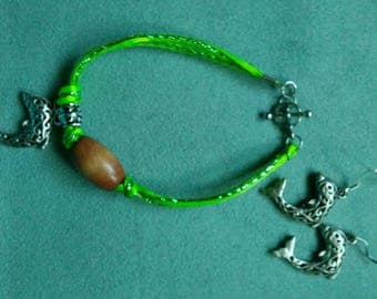 Dolphin bracelet with earrings/bracelets for women/lime green cord bracelet