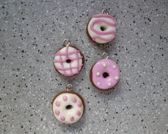 4 charms donuts made of polymer clay without mold 15 mm approx