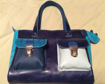 Matching blue leather bag