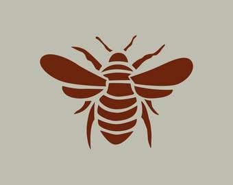 Bee. Satin stitch. Adhesive vinyl stencil. (ref 209)
