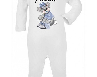 Pajamas baby blue Teddy bear personalized with name