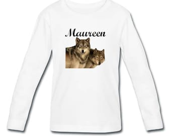 T-shirt sleeves wolves girl personalized with name