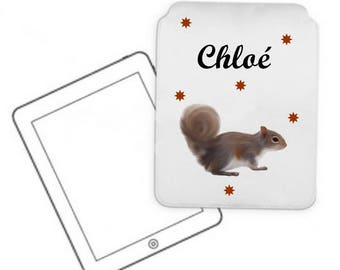 Cover for tablet pc squirrel personalized with name