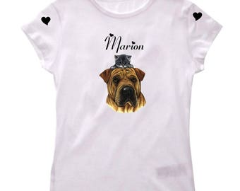 Tee shirt girl dog and kitten personalized with name