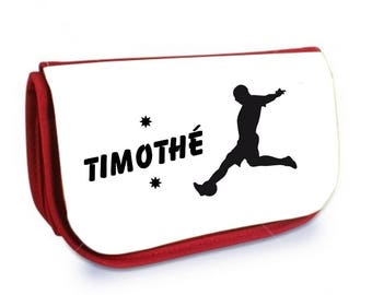 Cosmetic case red /crayons soccer player personalized with name