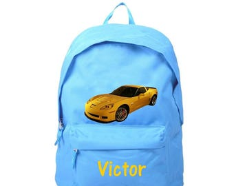 Blue backpack car personalized with name