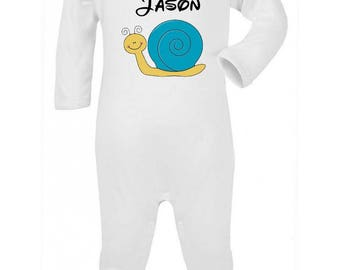 Pajamas baby snail personalized with name