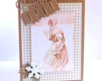 """greeting card """"happy new year"""" vintage style. Kraft paper"""