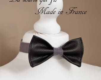Bow tie, faux leather, black, gray, cotton, natural, handmade in France, the mouse who thread