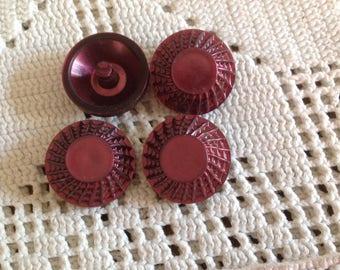 Set of four vintage 50s-60s, Garnet color buttons