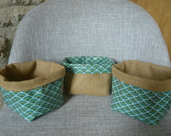 Japanese green /moutarde patterns storage baskets