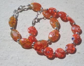 Millefiori glass beaded bracelet
