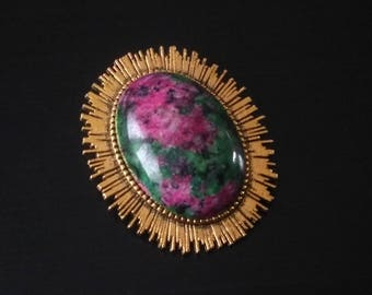 Golden Ruby fuchsite heart brooch
