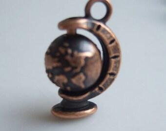 "Wonderful charm, globe pendant ""map"" color copper, 18 * 12mm embossed vintage spirit"